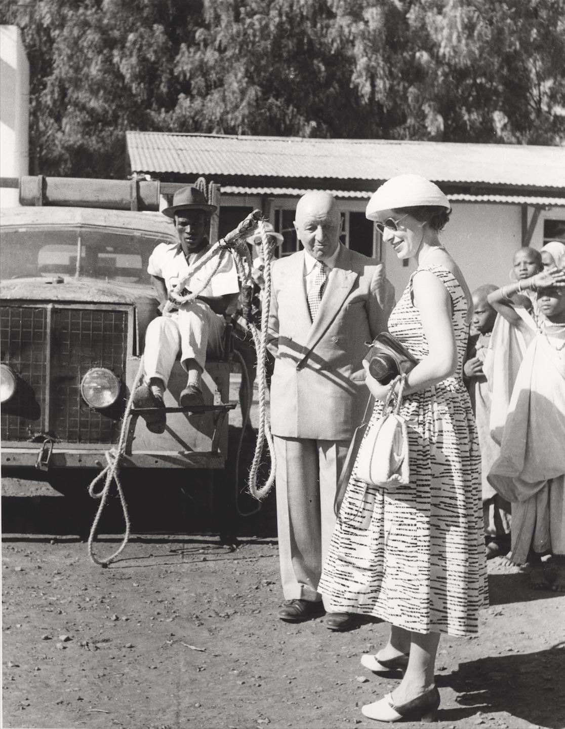 Die englische Prinzessin Margaret besucht Künzlers Big Game Ranch. Arusha, Tanzania, 1956, Staatsarchiv Thurgau